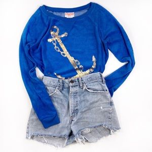 Tops - Blue and Gold Anchor Sweat Shirt